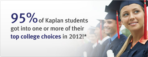 95% of Kaplan students got into one or more of their top college choices in 2012!