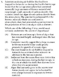 Real LSAT Question PrepTest19 (Copyright LSAC)