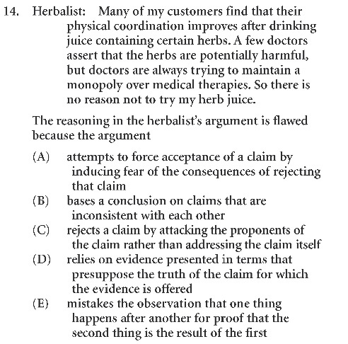 Real LSAT Practice Question Logical Reasoning (CR LSAC)