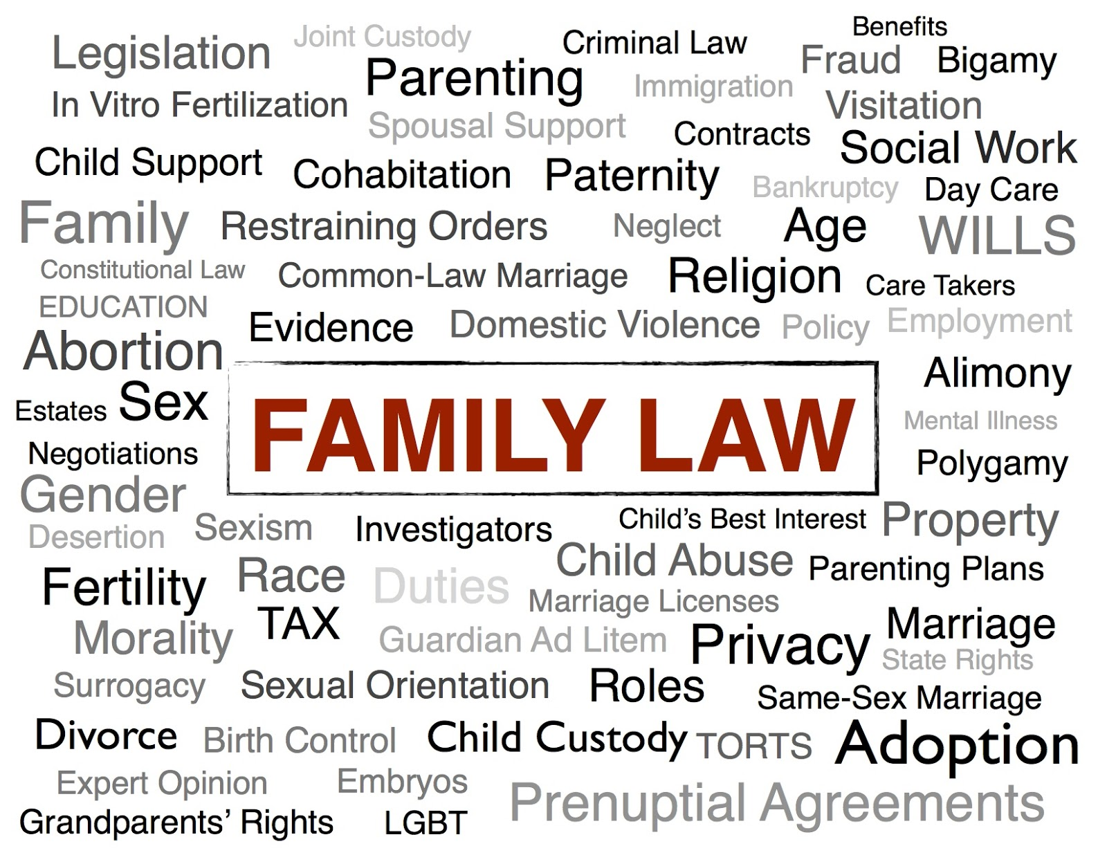 different types of law job opportunities in family law on the amily law is one of the different types of law that can lead to a rewarding