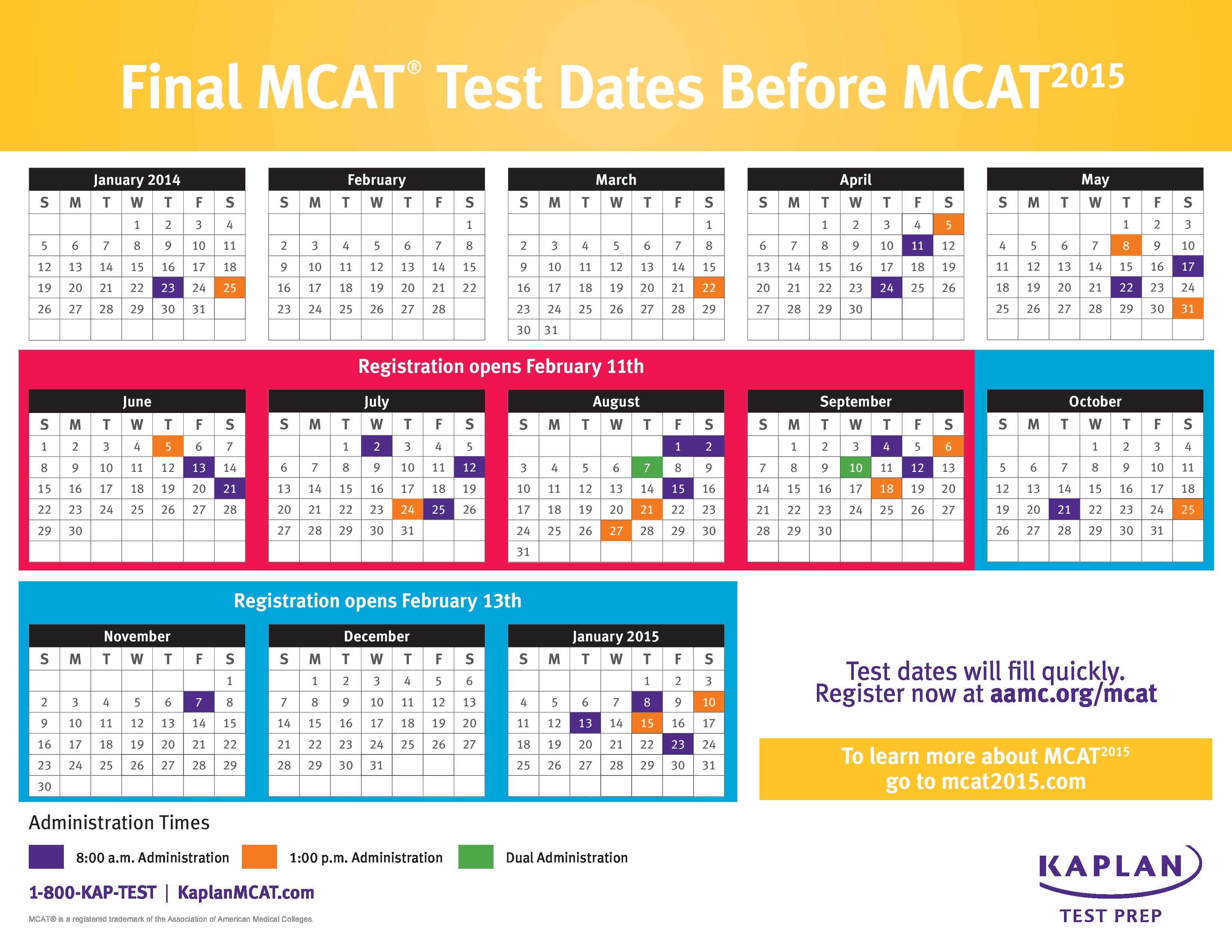 Pcat dates